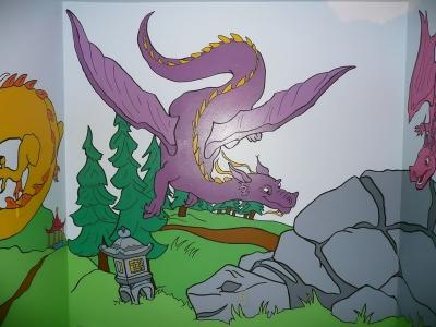 Dragon Nursery Wall Mural goes all the way around room. (Back wall)
