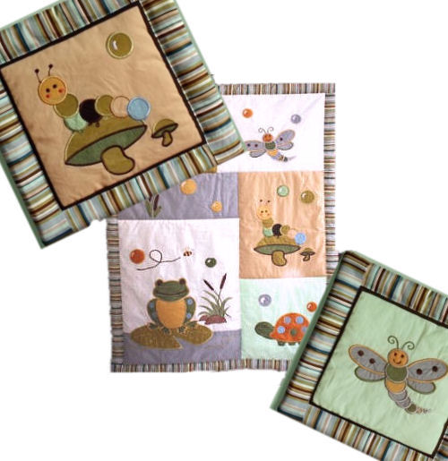 Baby crib quilt with frog dragonfly snail turtle and mushroom appliques for a crib bedding set in a pond nursery theme