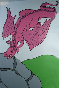 Purple Dragon Tales flying dragon baby nursery wall mural art painting