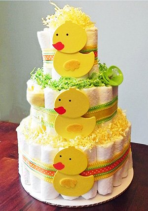DIY yellow rubber duck ducky baby shower diaper cake centerpiece idea