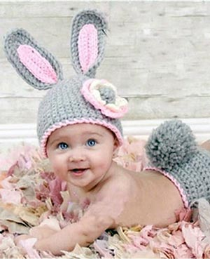 Easter baby photo prop ideas crochet bunny ear hat and diaper cover