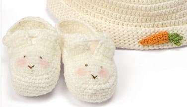 Crocheted Easter Bunny Baby Booties