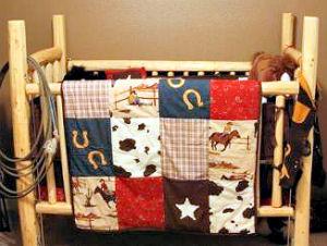 Rustic pine baby crib