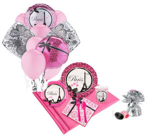Pink and black French damask Eiffel Tower baby shower party decorations