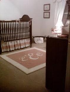 elegant pink rose ivory antique personalized baby girl nursery crib set monogram window treatments