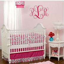 Pink and green damask baby nursery bedding and room decor