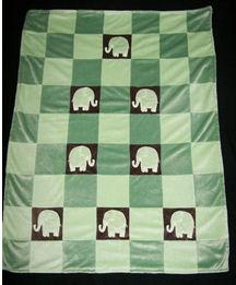 elephant patchwork baby blanket pattern plush crib quilt green brown chocolate