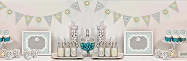 Blue elephant theme baby boy shower cupcakes, decorations and decorating ideas