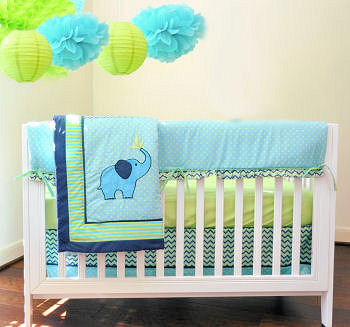 Turquoise blue and green elephant baby crib bedding with zig zag chevron pattern fabric