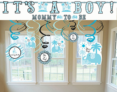 Example of elephant theme baby shower wall and ceiling decorations for a boy in blue