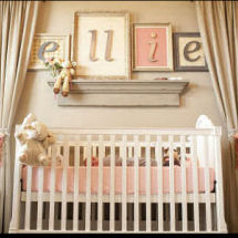 Romantic vintage salmon pink gray and mossy green baby girl nursery room