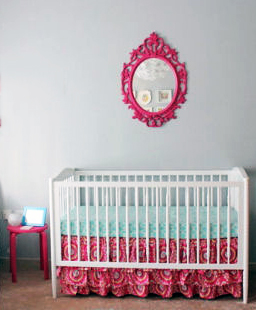 Baby Emerson's bright eclectic fuchsia pink and grey nursery room