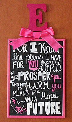 Baby girl nursery wall quote Bible verse Jeremiah 29:11 For I know the plans  I have for you, declares the Lord