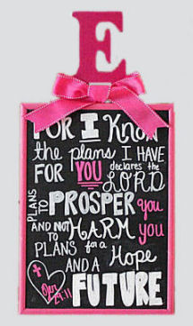 Bible Verse Jeremiah 29:11 For I know the plans I have for you, declares the Lord in a fuchsia pink and grey baby girl nursery