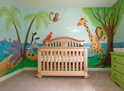 Jungle Animals Gathering Around Baby Emma's Crib in the Nursery