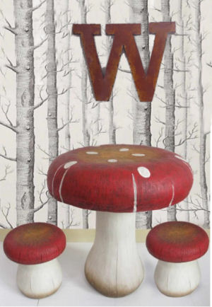 Children mushroom table and chairs furniture for an enchanted forest nursery theme
