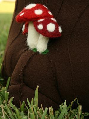 Wool Toadstools Closeup of the Enchanted Forest Theme Tree Stump Mushroom Nursery Ottoman