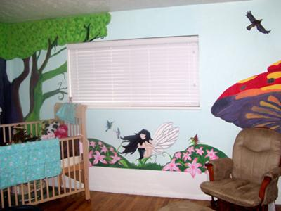 An Enchanted  Fantasy Nursery with a Fairy Princess and Woodland Creatures Wall Mural Painting