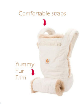 Warm fur trimmed designer ErgoBaby baby carrier in cream and tan for winter