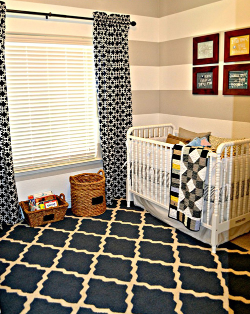 This baby boy's nursery is not a sports theme room although the décor was inspired by his grandfather's polo shirts