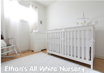 ALL WHITE BABY NURSERY CRIB BEDDING and DECOR