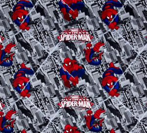 Fabric for a custom Spiderman baby bedding set with city skyline background print