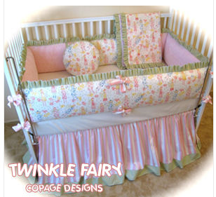pink white yellow and green fairy baby crib bedding nursery picture girl quilt
