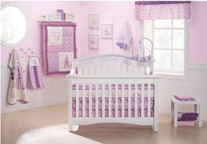 Purple lavender and white Disney princess fairy crib bedding set for a baby girl nursery room