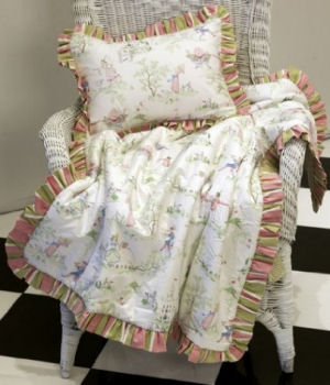 Vintage toile fairy fabric pattern baby crib quilt for a fairytale nursery theme
