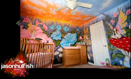 Flower garden fairy fantasy baby nursery wall mural.  Fairies with butterfly wings on mushrooms and bright flowers