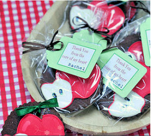 Homemade red fall apple baby shower party favor tags