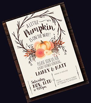 Fall themed baby shower invitation in autumn colors with falling leaves and pumpkin