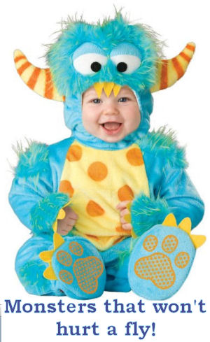 Baby blue and yellow monster infant Halloween costume with horns