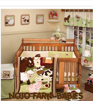 farm theme nojo babies baby crib bedding set pigs ponies lambs