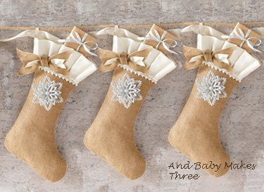 Personalized burlap and lace baby first Christmas stocking for boys or girls