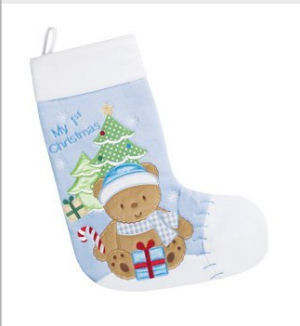 Baby boy first quilted Christmas stocking with an appliqued teddy bear candy canes and presents under the tree