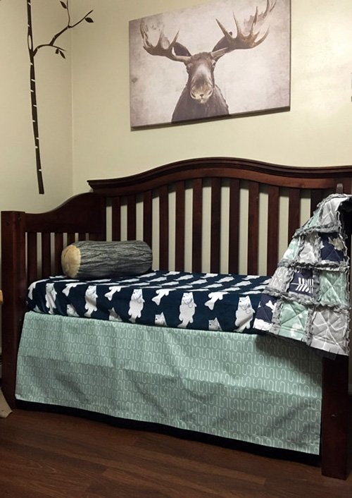 Rustic fish fishing baby nursery room decorating ideas baby crib bedding set