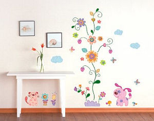 Flower and puppy wall decals and stickers for kids rooms or a baby nursery room floral wall mural