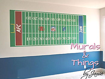 Custom painted football stadium sports nursery wall mural for a baby boy or girl