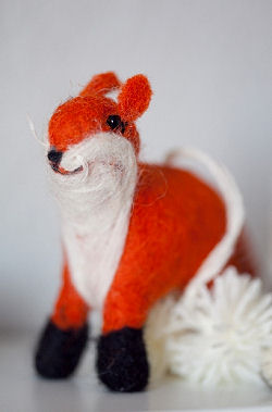 Toy red fox decoration from the rustic forest animals baby nursery crib mobile