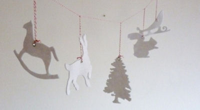 White Felt Garland Forest Friends Baby Nursery Wall Decorations Reindeer Santa's Sleigh Christmas Tree