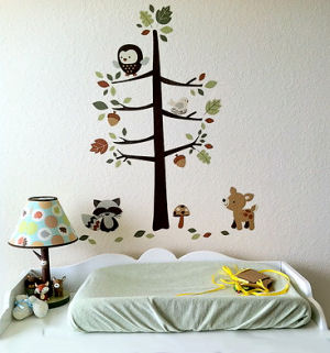 Forest friends wall decals stickers with deer fox tree raccoon black bear mushrooms owl