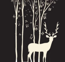 Forest scene wall decals with trees, leaves and deer silhouettes on dark wall paint color