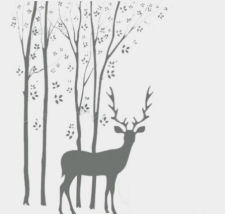 Forest scene wall stickers with trees, leaves and deer on light neutral wall paint color