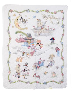 Mother Goose and Friends Nursery Rhyme Vintage Baby Crib Quilt Pattern Kit Fabric Panels