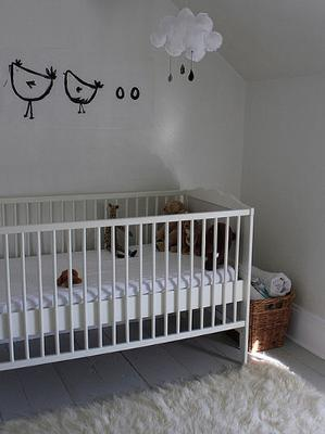 Simple Baby Boy's French Country Modern Nursery w Homemade Fabric Rain Cloud Crib Mobile & Hand Painted Baby Chicks