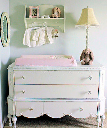 Vintage shabby chic French baby nursery dresser design makeover project