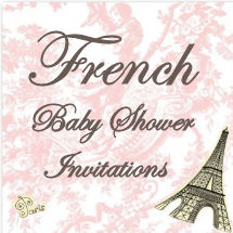French baby shower invitation idea with Eiffel Tower clipart and Paris graphics