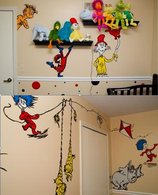 Black, floating wall shelves displaying my collection of plush Dr. Seuss toys.