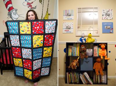 Full view of the baby's Dr Seuss crib quilt made by mommy!